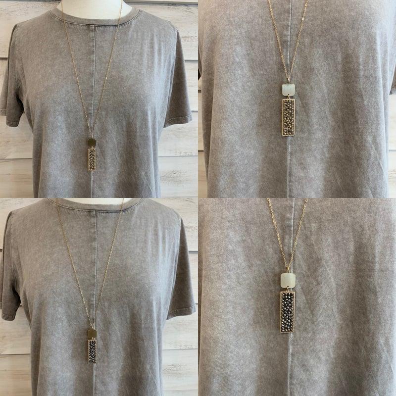 Rectangular Stone Necklace