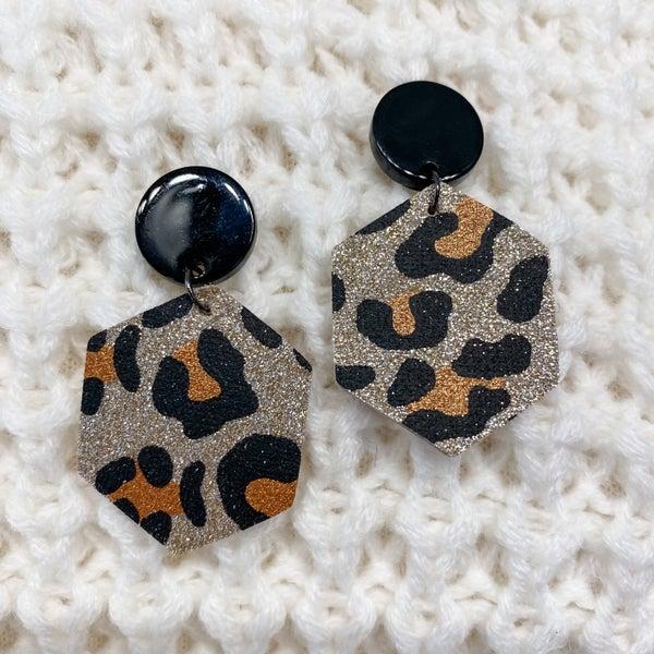 Shimmery Animal Print Leather Earrings