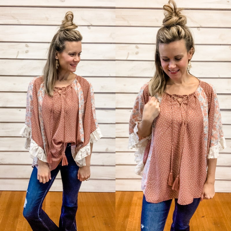 Mauve Floral Dot Flowy Top