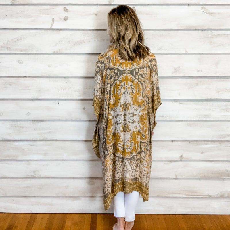 Golden Print Boho Kimono