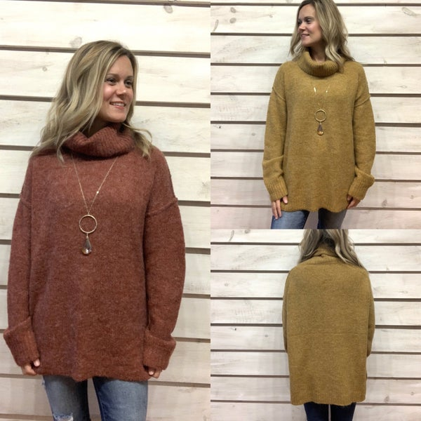 Tunic Turtleneck Sweater