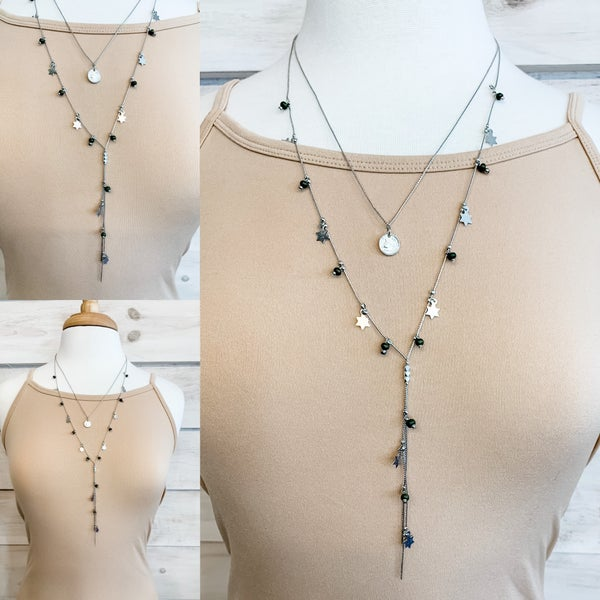 Silver and Green Charm Detail Necklace