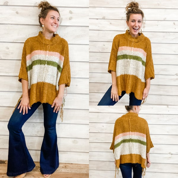 Amazing Fringe Poncho Sweater