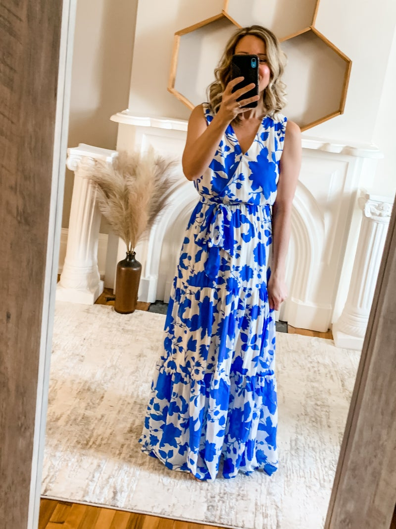 Blue Floral Tiered Maxi Dress