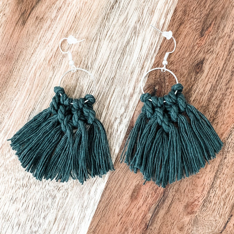 Green Small Macrame Boho Earrings