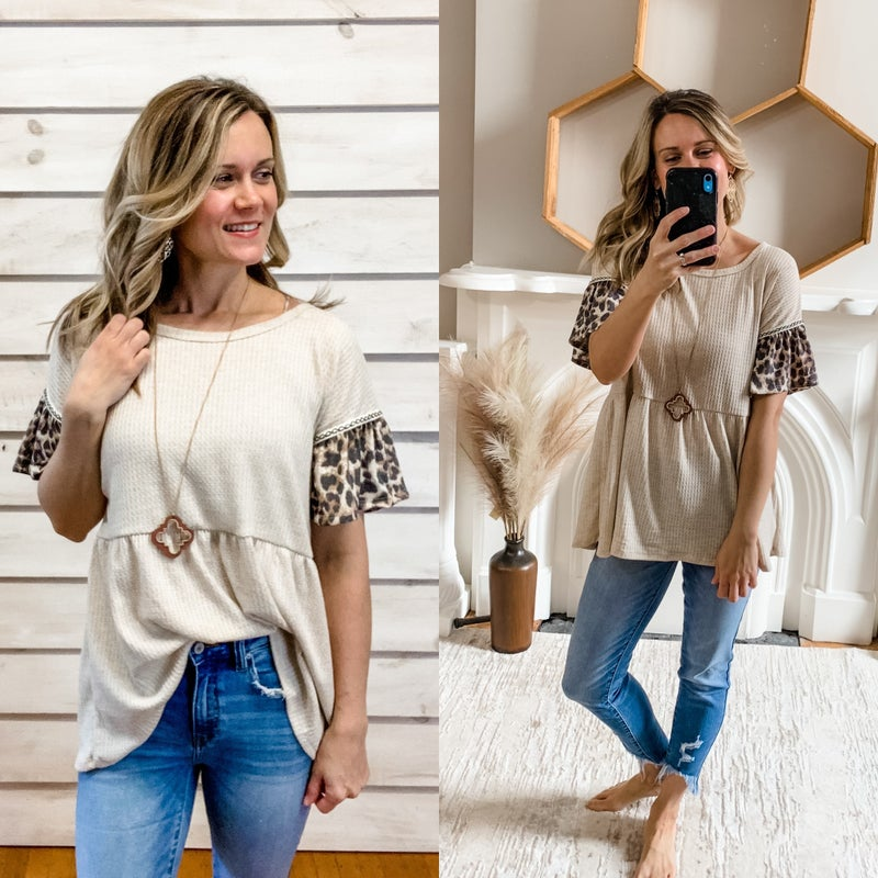 Cream Top with Stitched Animal Print Ruffle Sleeve