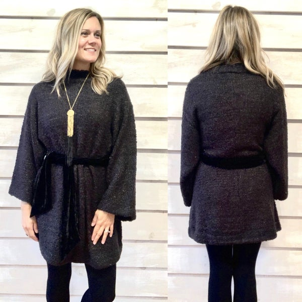 Black Mock Neck Sweater Dress with Tie