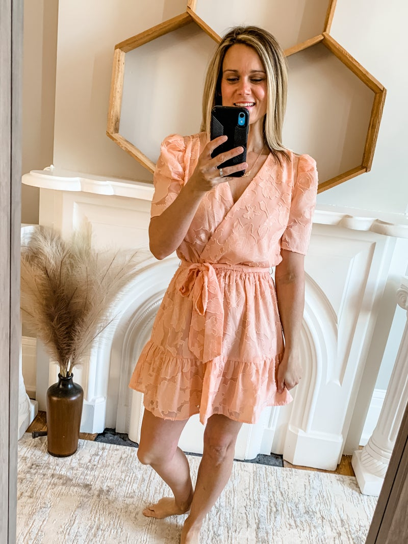 Peach Floral Puff Sleeve Dress