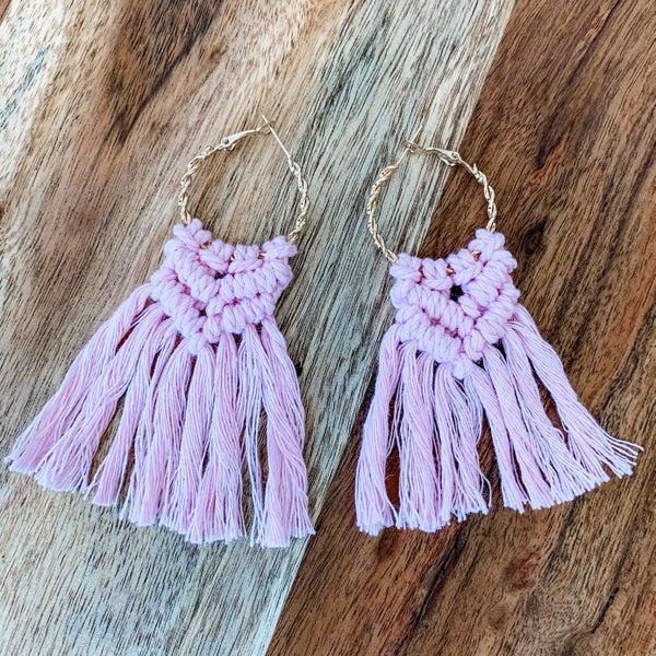 Pink Boho Macrame Earrings