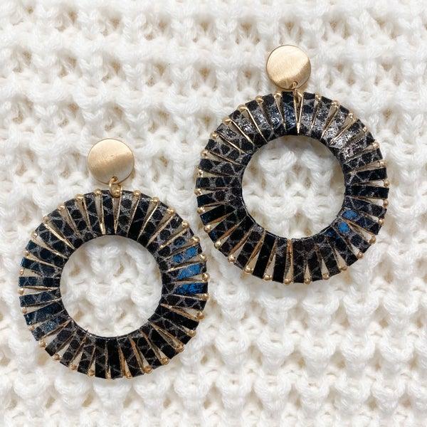 Gold Metal Hoop Earrings with Black Printed Leather Detail