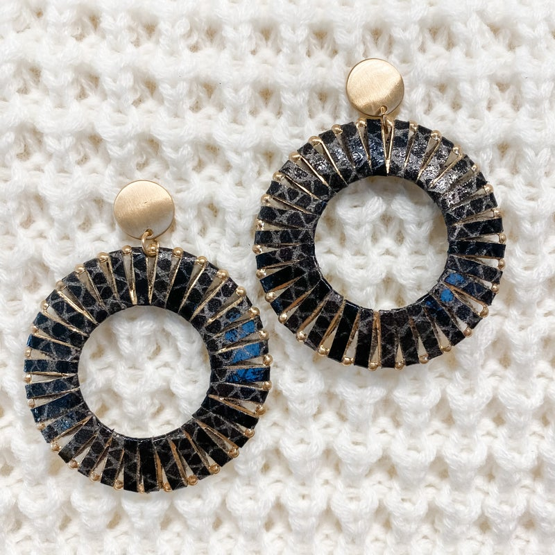 Gold Metal Hoop Earrings with Black Printed Leather Detail