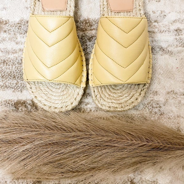 Sunshine Yellow Espadrille Slide On Sandals