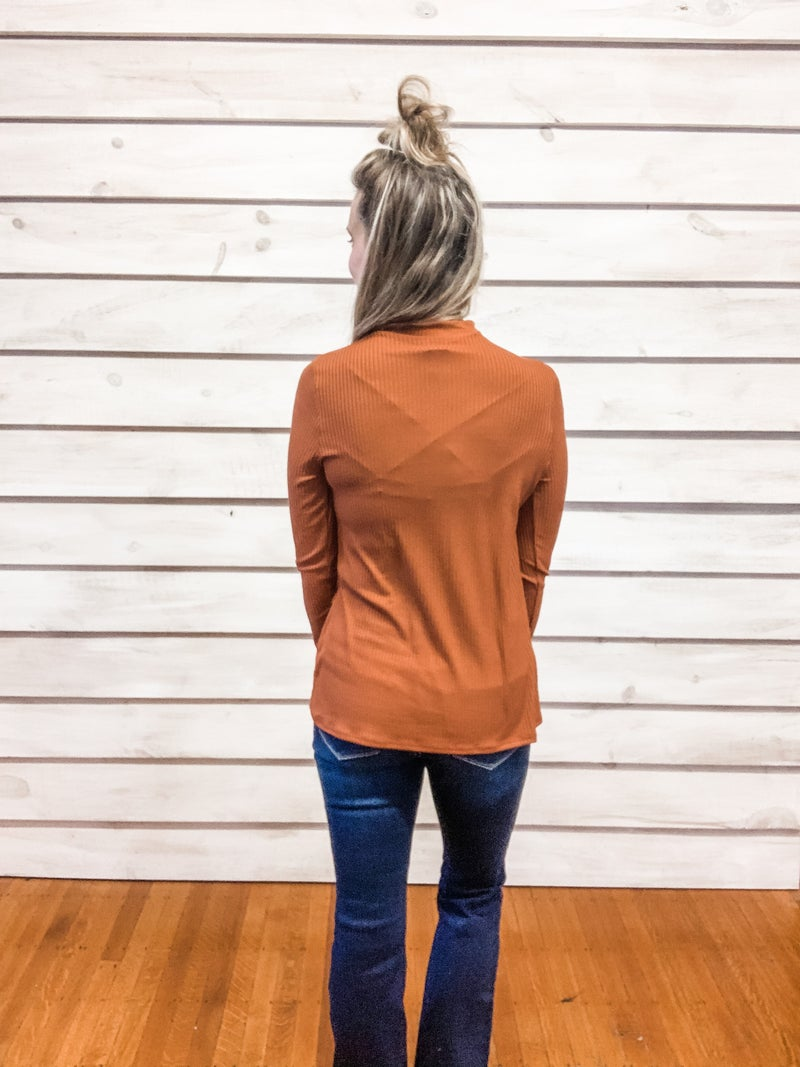 Rust Ribbed Cut Out Top