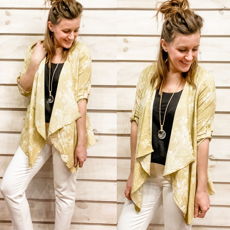 Neutral Printed Kimono with Cascading Front