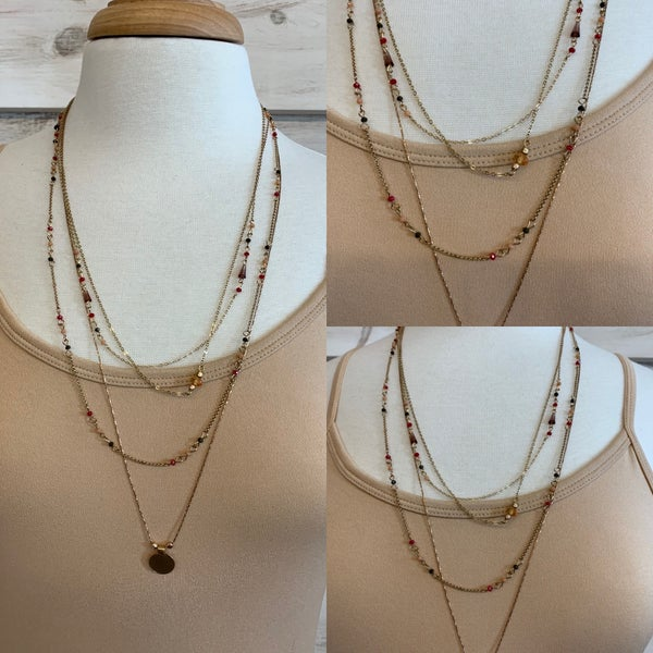 Rose Gold Layered Charm Necklace
