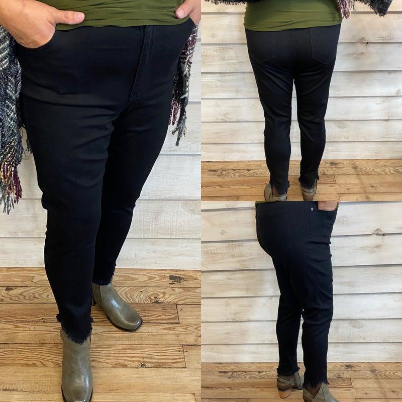 Black Jeans with Frayed Hem