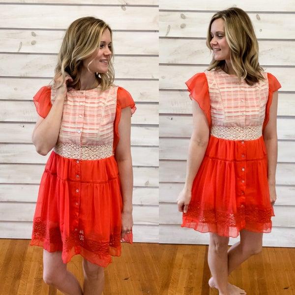 Red Chiffon Lace Contrast Dress