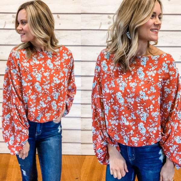 Red Floral Boat Sleeve Top