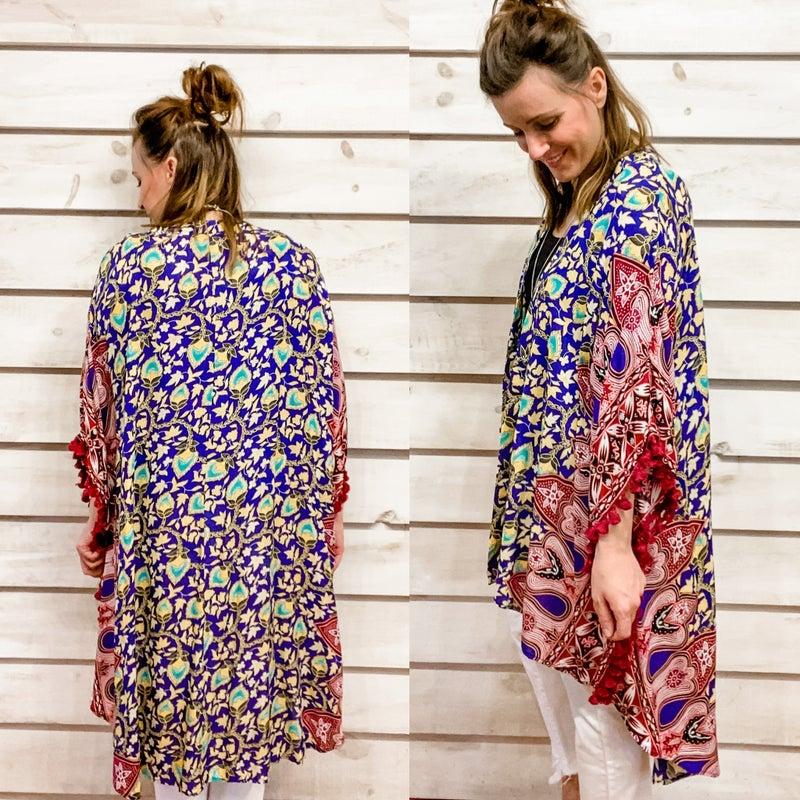 Summer Kimono with Pom Pom Details