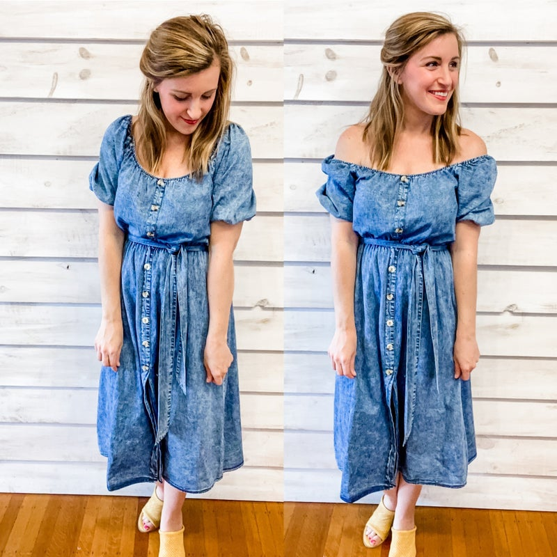 Denim Puff Sleeve Midi Dress
