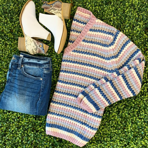Blue and Rose Chenille Striped Sweater