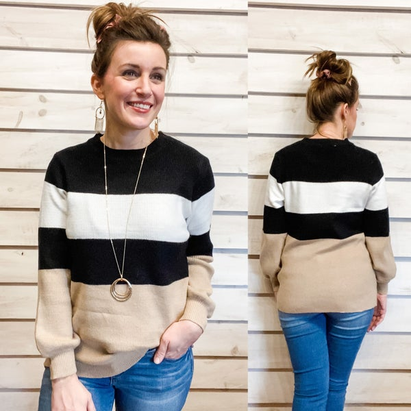 Black Combo Striped Sweater