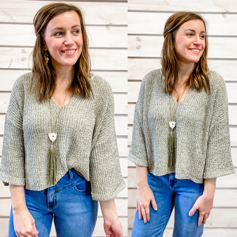 Sage Rolled Sleeve Sweater Top