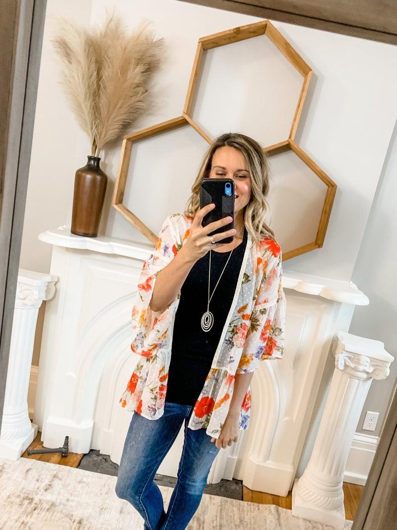 Ivory Floral Ruffle Kimono