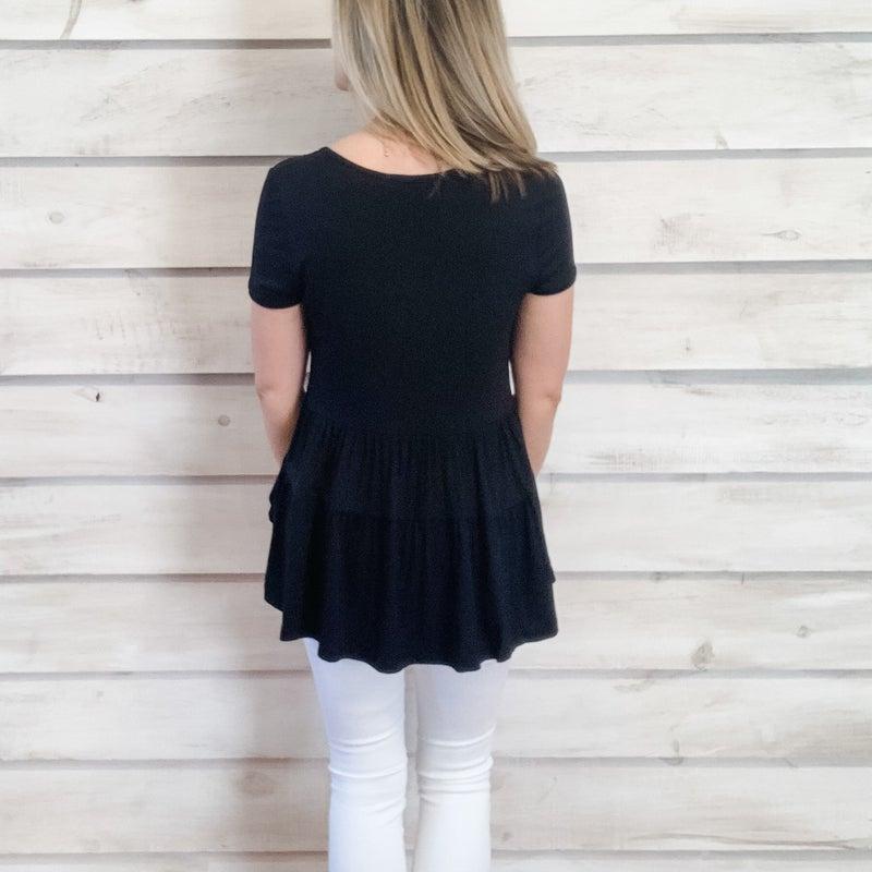 Black Tiered Babydoll Top