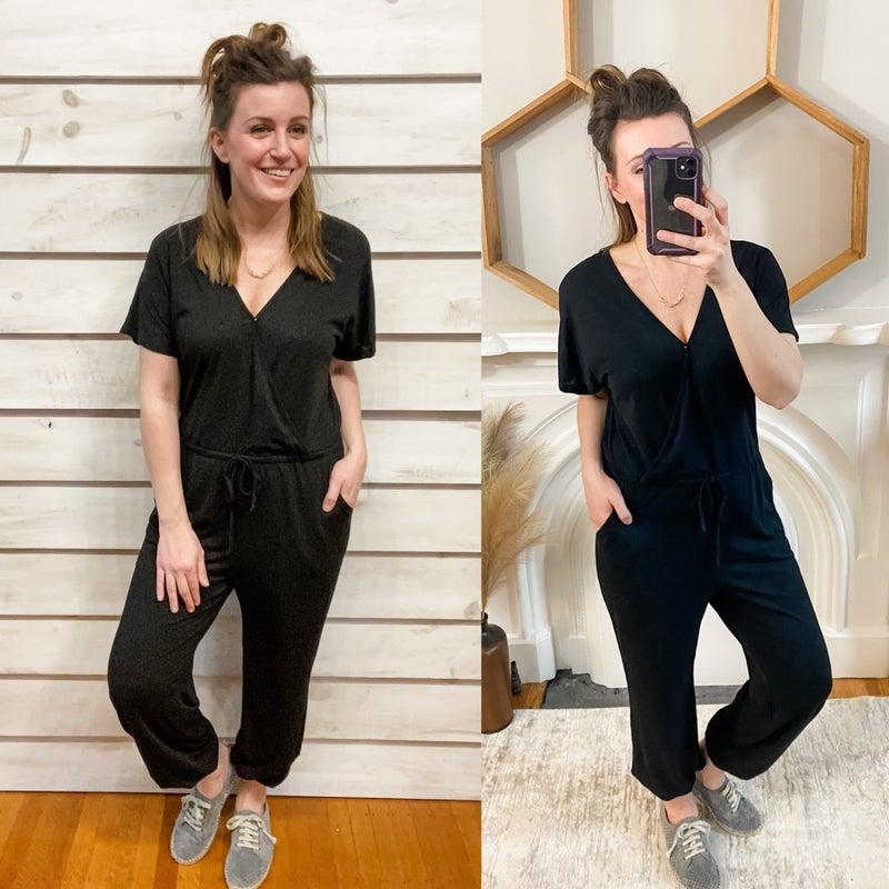 Black Print Soft Elastic Jumpsuit