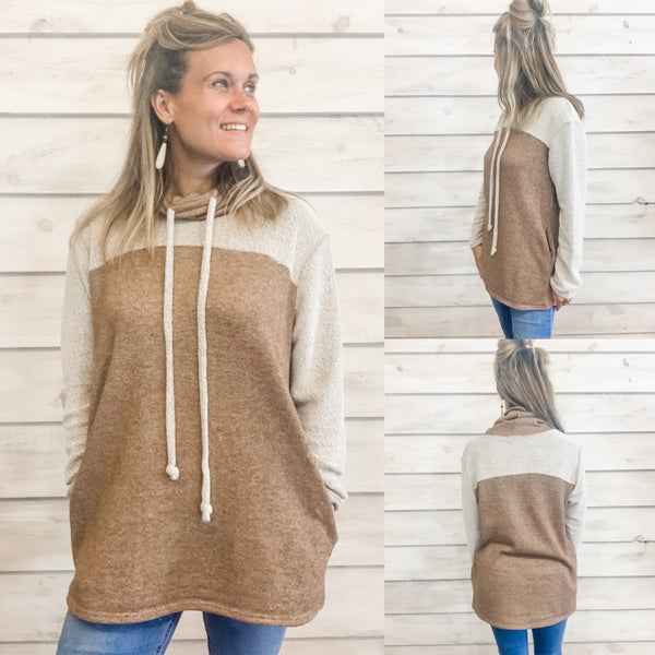 Mocha Terry Cowl Neck Pullover *Final Sale*