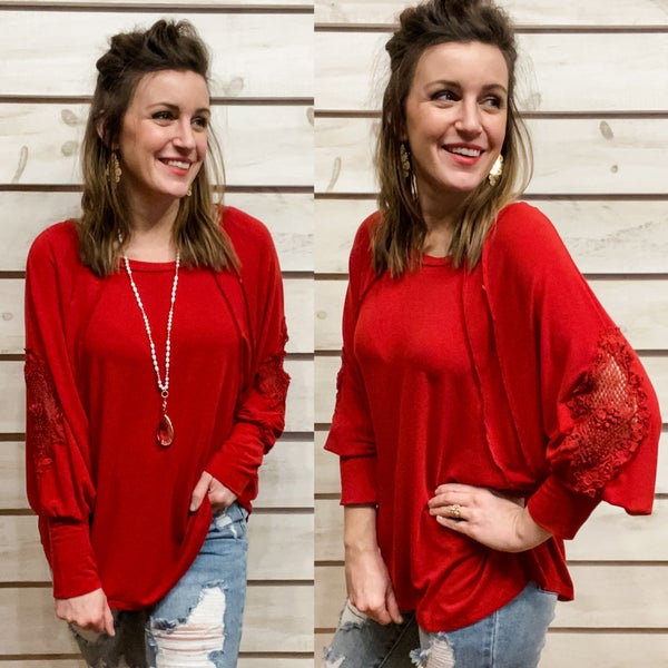 Red Lace and Crochet Arm Detail Top