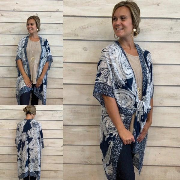 Blue Swirl Print Kimono *Final Sale*