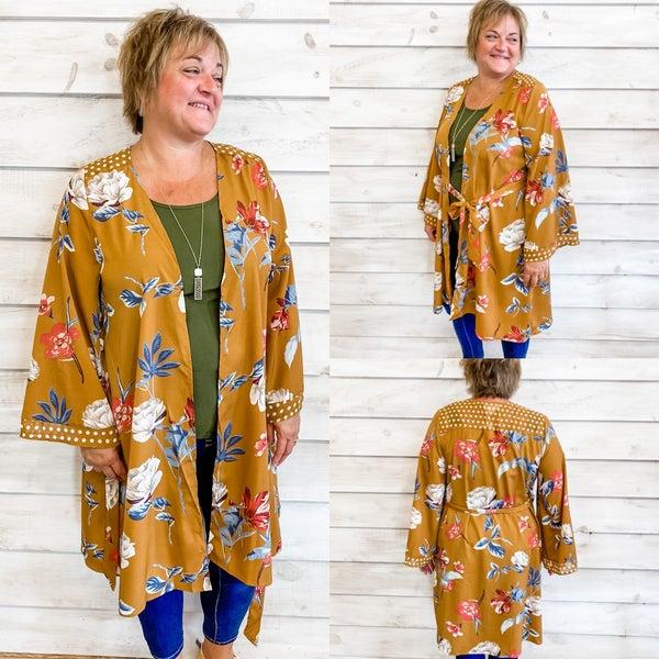 Mustard Floral Print Tie Waist Kimono *Final Sale*