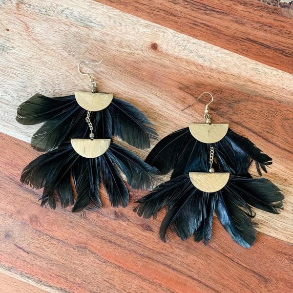 Black Feather Boho Earrings