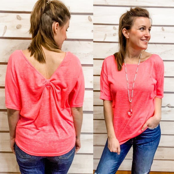 Neon Pink Twist Back Top