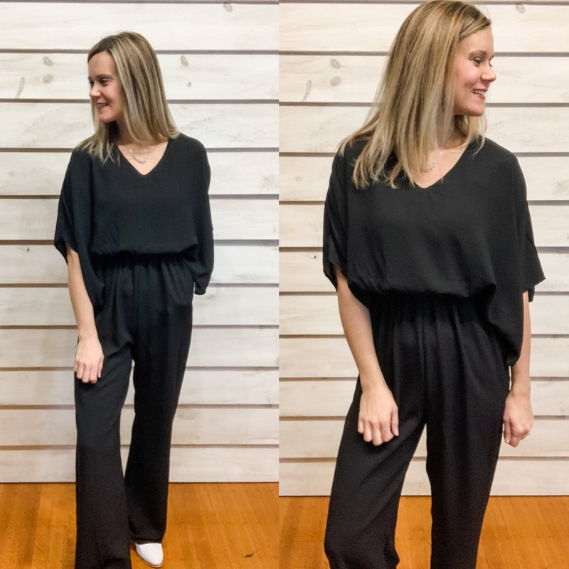 Black Jumpsuit with Flowy Sleeves