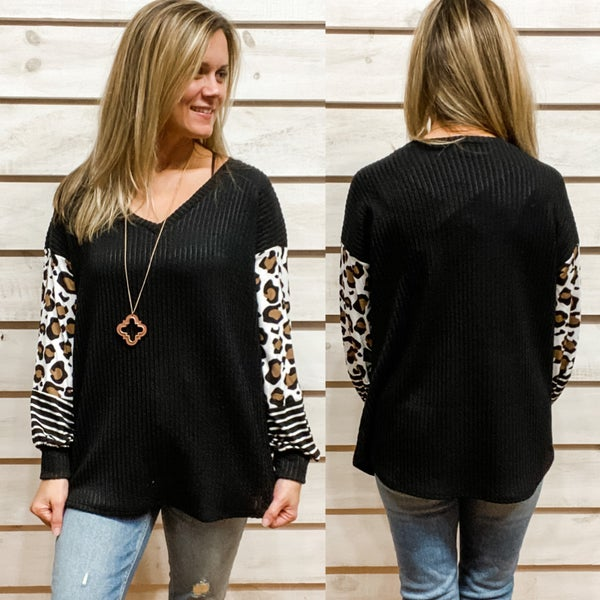 Black V Neck Top with Contrasting Animal Print Sleeves