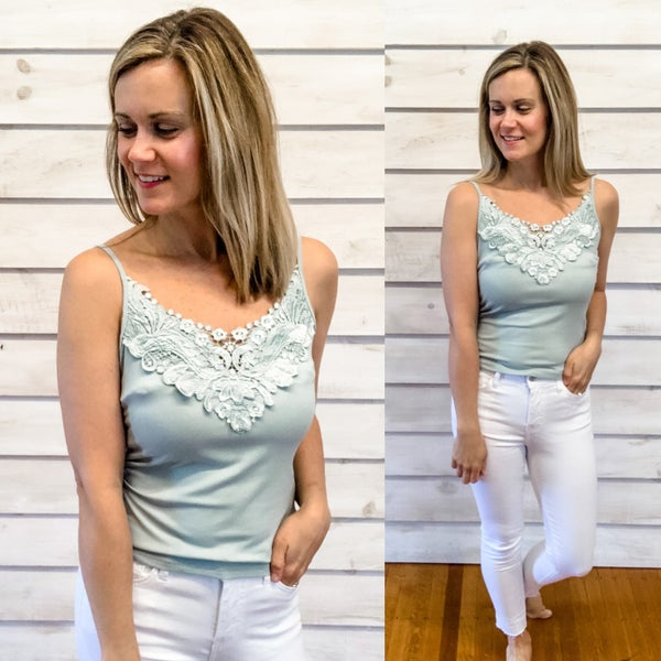 Sage Embroidery Tank