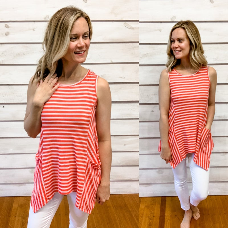 Red Striped Pocket Tunic Tank