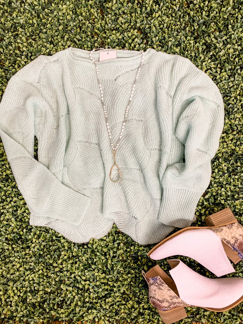 Mint Scalloped Sweater *Final Sale*