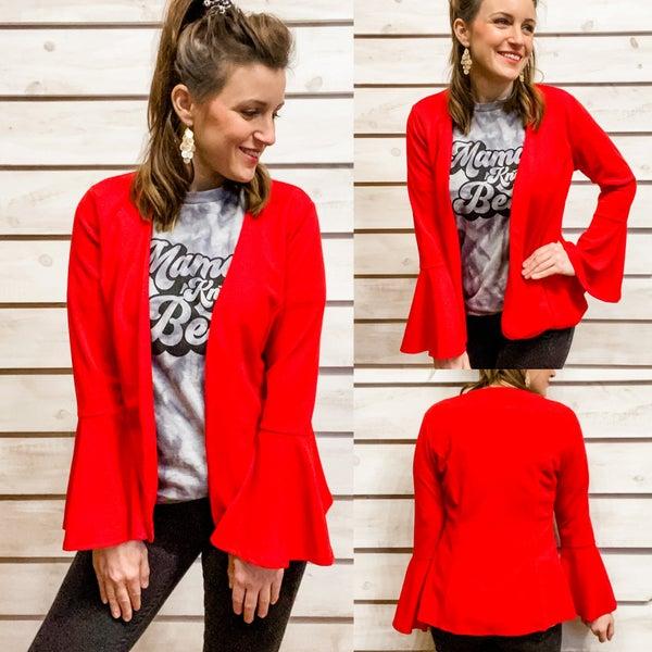 Red Bell Sleeve Blazer