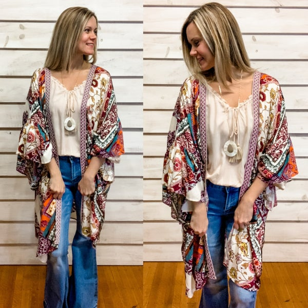 Teal Boho Print Ruffle Kimono