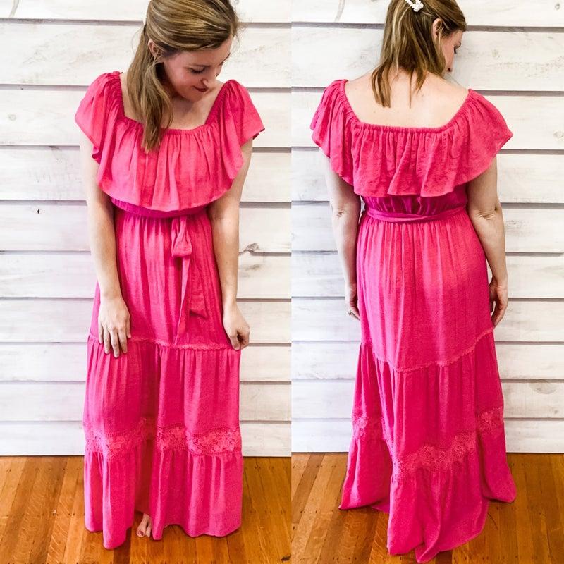 Fuchsia Tiered Maxi Dress