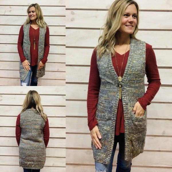 Multi Color Knee Length Sweater Vest