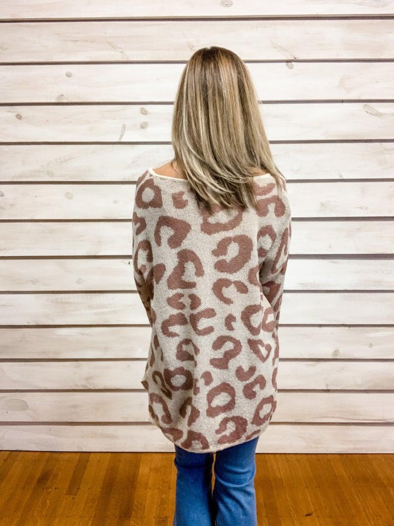 Mauve Print Lightweight Sweater Top