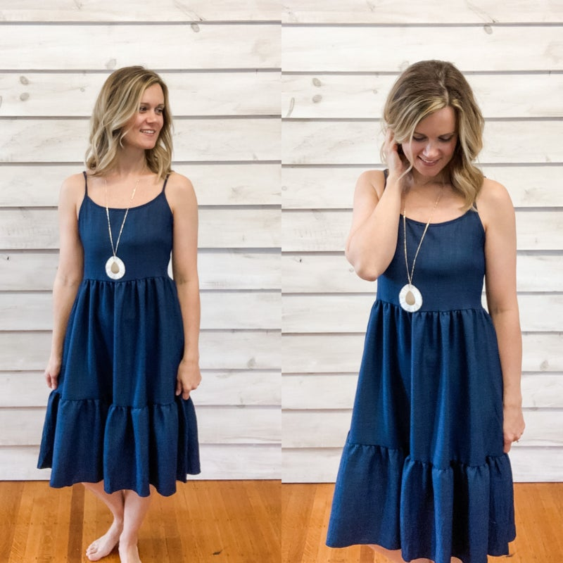 Navy Tie Back Ruffle Dress