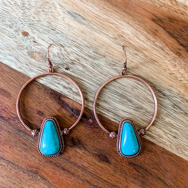 Turquoise and Rose Gold Charm Hoop