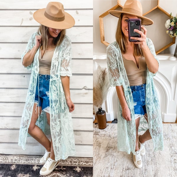 Sage Lace Duster