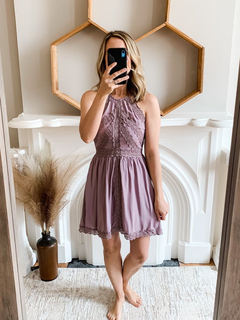 Purple Lace Detail Halter Dress